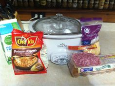 Easiest Breakfast casserole for crockpot!! 1 bag of potatoes o'brien frozen, 1 package of diced ham, 1 package of Mexican shredded cheese, 1 dozen eggs, 1 cup of milk. Dump all ingredients in a crockpot sprayed with Pam except eggs and milk. Mix all together. Combine eggs and milk in separate bowl, then whip with a fork. Pour over ingredients in crockpot. Cook on low for 8 hours. Voila.