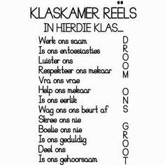 Klasreëls High School Classroom, Classroom Themes, Classroom Activities, Wisdom Quotes, Life Quotes, Success Quotes, Classroom Behavior Management, Behavior Rewards, Afrikaans Language