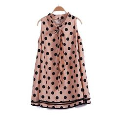 Pink Sleeveless Polka Dot Bow Chiffon Dress (€19) ❤ liked on Polyvore featuring dresses, tops, sheinside, polka dots, pink bow dress, pink day dress, dot print dress, brown pink dresses and polka dot dress