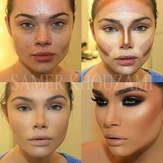Contour Face shape Makeup, Before and after contouring tutorials http://www.justtrendygirls.com/before-and-after-contouring-tutorials/