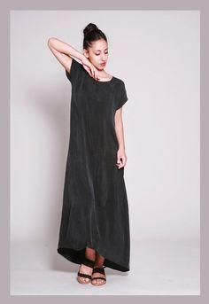 Черный Макси платье Boho, Сыпучие Место Платье, медно Длинные платья лета, с коротким рукавом платья макси, платья женские по Dragonflyhm