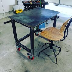 Finished the welding table. Now I can stop welding on my garage floor. Welding Table, Welding Machine, Metal Furniture, Drafting Desk, Garage, Flooring, Canning, Workshop, Tools