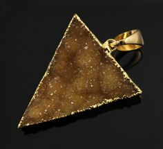 Large Druzy Triangle Pendant in Stunning Earth Tones, Heavy Gold Plated, 27x32mm, A+ Gorgeous Quality, Electroplated Edge (DZY/TRI/116) by Beadspoint on Etsy