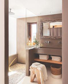 Home Interior 2019 .Home Interior 2019 Earthy Bathroom, Brown Bathroom, Small Bathroom, Modern Bathroom, Master Bathroom, Natural Bathroom, Bathroom Ideas, Bad Inspiration, Bathroom Inspiration