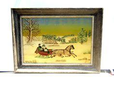 Vintage Oil Painting Mid Century Art Primitive by PaperWoodVintage, $65.00