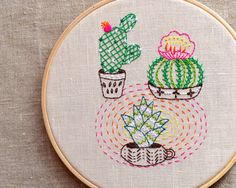 Modern Hand embroidery patterns, Cactus embroidery, plant embroidery, modern embroidery  Ideas for use:  pillow cases, kitchen linens,