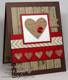 Stampin' Up! Language of Love & Hardwood Valentine's Day Card - Masculine - Christy Fulk, Stampin' Up! Demo