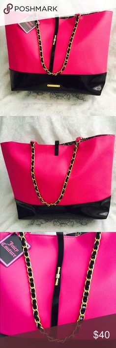 💜Authentic Juicy Couture handbag new💗 💜Authentic Juicy Couture handbag new💗 I bought, because I like it, but never have the time and occasion to use it. To cute to be in my closet doing nothing. Need a new owner. Has tag and pretty gold metal logo. Big space. Nice fabric inside. Color: magenta, black & gold.💄💋👛🕶 I low the price for quick sale. Open for razonable offer. Juicy Couture Bags
