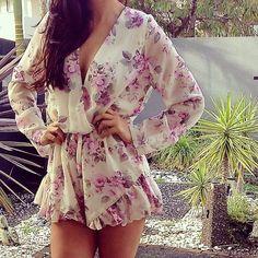 Women Summer V Neck Floral Clubwear Party Shorts Romper Jumpsuit Playsuit