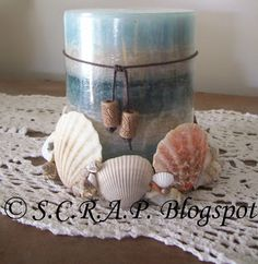 ~ S.C.R.A.P. ~ Scraps Creatively Reused and Recycled Art Projects: Seashell Candle Holder ~ Using Plastic Lids