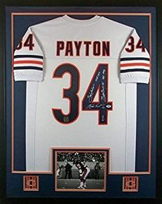 This Walter Payton Framed Jersey Signed would make the perfect gift for a Bears themed mancave or basement bar! Framed Jersey, Walter Payton, Cool Wall Art, Chicago Bears, Bars For Home, Man Cave, Basement, Gift, Sports