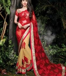 Buy red embroidered net saree With Blouse party-wear-saree online