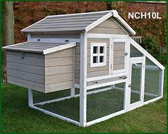 FeelGoodUK Poulailler volailles, Rampe d'accès et tiroir à déjections - NCH10 L GRIS