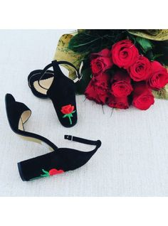 Sandale Rose(Lunar Collection)    Embroidered sandals with comfy heels, Pantofica.ro