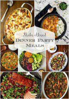 Whether you're entertaining family or friends, we've got you covered with delicious, make-ahead, dinner party meals! Make-Ahead Dinner Party Meals - Simple Classic Recipes with a Fresh, Unique Touch Dinner Party Recipes Make Ahead, Dinner Party Main Course, Summer Dinner Party Menu, Casual Dinner Parties, Dinner Party Meals, Appetizers For Dinner Party, Meals For A Crowd, Recipes For A Crowd, Easy Recipes