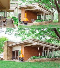 Midcentury modern exterior dining patio. Outdoor living in Michigan! MidModMich - mid-century living in Michigan