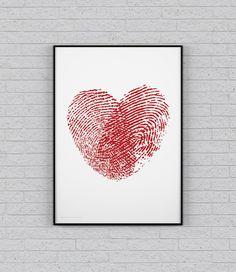 Serce - odcisk palców plakat 50x70 cm od SilverLiningShop