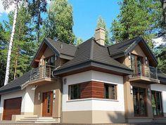 Zdjęcie projektu Opałek II N Village House Design, Village Houses, American Style House, Attic Bedroom Designs, Brick Siding, House Outside Design, House Paint Exterior, Design Case, Home Fashion