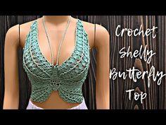 Crochet Butterfly, Butterfly Top, Crochet Crop Top, Crochet Blouse, Tricot Simple, Crochet Summer Tops, Crochet Videos, Crochet Fashion, Mode Outfits