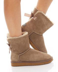 a43584e7454b46 SKUTARI Luxuriöse Damen Bow Fell Winter Wildleder Stiefel Boots warm  gefüttert Schlupfstiefel mit Schleife – Bild 5
