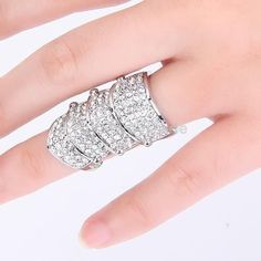 Gothic Punk Rock Rhinestone Full Finger Armor Ring Hinged Joint Knuckle Silver