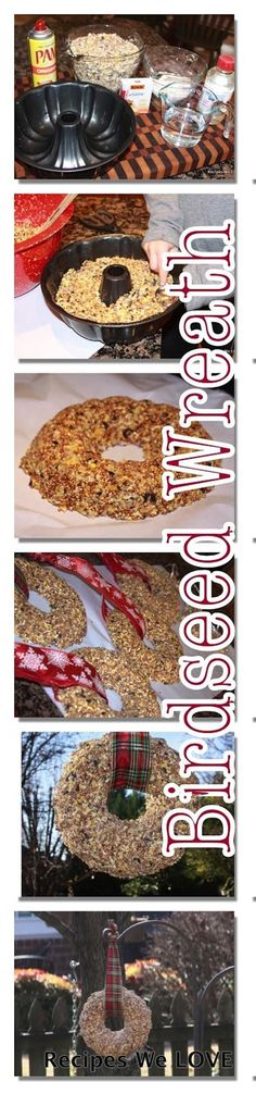 Birdseed Wreath 4 cups bird seed feed cup all purpose flour cup water 3 Tablespoons corn syrup 1 package of plain gelatin cooking spray bundt pan or other mold with a hole in the center (I also used cookie cutters for ornaments)