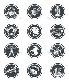 Set of Vector Round Badges Space Template EPS