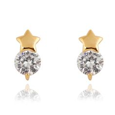 11.5mm 18K Gold Plated Fashion Star with Zircon Women Ladies Copper Earrings