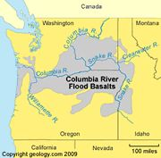 The Columbia River Flood Basalts are an extensive sequence of stacked lava flows that occurred during the middle Miocene, between 17 and 15 million years ago. Attributed to the Yellowstone hotspot, they reach a cumulative thickness of up to 6000 feet. During the same time period the Oregon Basins and Range of the Pacific Northwest were also flooded with basaltic lava flows.