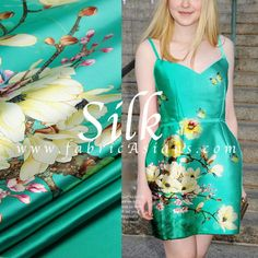 Aqua Silk Fabric. Orchid printed Silk SSD100901 by fabricAsians