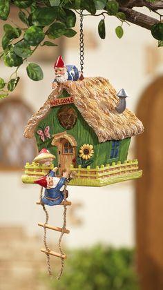 AmazonSmile : Gnome Home Decorative Birdhouse : Bird Houses : Patio, Lawn & Garden