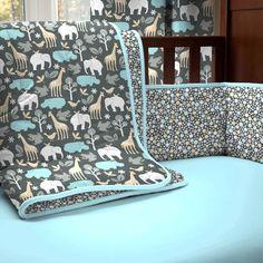 Gray Zoology Crib Comforter 500x500 image #carouseldesigns #nursery