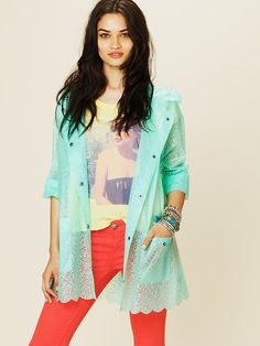 Free People Printed Lace Raincoat at Free People Clothing Boutique