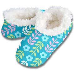 Snoozies FLORAL LEAVES No Skid Slipper Sock Footwear ~ Details ->> http://amzn.to/MfxhiP