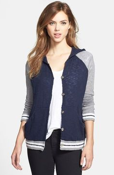 Free shipping and returns on Wit & Wisdom Baseball Sweater Jacket (Nordstrom Exclusive) at Nordstrom.com. An iconic raglan-sleeve jacket with vintage athletic detailing takes a softer, cozier turn for fall in a cotton-blend sweater knit. The color-blocked style is fashioned with a slouchy hood and contrasting pointelle stitches in back.