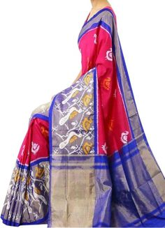 ikat red color saree