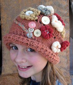 Ravelry: Cottage Garden Beanie crochet pattern by Sarah Jane Weaving Patterns, Knitting Patterns, Crochet Patterns, Hat Patterns, Crochet Ideas, Crochet Shoes, Knit Crochet, Crocheted Hats, Crochet Things