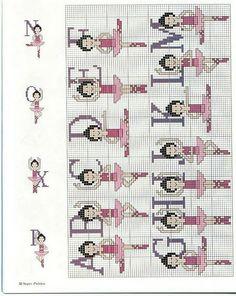 Alfabeto de balletistas para punto de cruz.