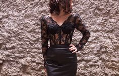 Vintage lace bustier long sleeve top 1980's vogue by OzmaAutonomy