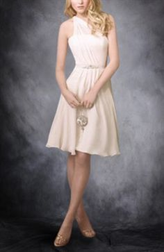 A-Line One Shoulder Sleeveless Bridesmaid Dress