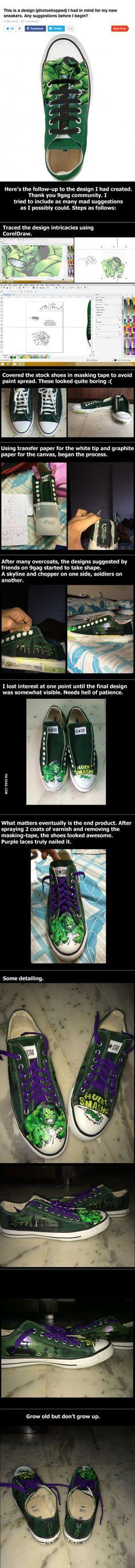 Hand painted Hulk sneakers.