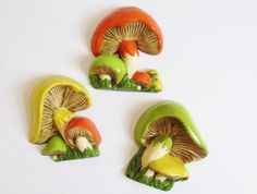 Vintage 1970's Ceramic Set of 3 Retro Mushroom Wall Decor by FreshtoDeathVintage, $18.00
