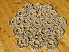 Crochet jute rug / hexagon / 27 in / 100% naturals materials