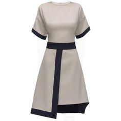 LATTORI Ivory VIP Tight Waist Asymmetric Dress (825 BAM) ❤ liked on Polyvore featuring dresses, lattori, short sleeve knee length dress, asymmetrical chiffon dress, winter white dress, short sleeve chiffon dress und ivory chiffon dress