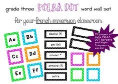 Grade 3 FRENCH Polka Dot Word Wall set