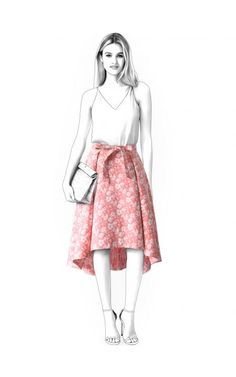 Skirt With Pleats  - Sewing Pattern #4579 Made-to-measure sewing pattern from Lekala with free online download. Fitted, Waist band, Asymetrical, Pleats, Zipper closure, Knee length, No pockets