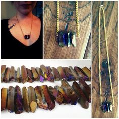 """The """"Mystic"""" Crystal Necklace // titanium quarts crystals // purple brown quarts // stone jewelry // hipster // grunge // chakra // gypsy on Etsy, $20.00"""