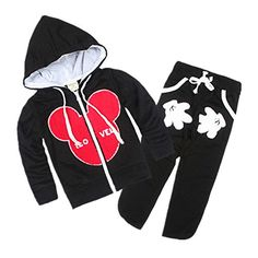 LittleSpring Little Boys' Hooded Pants Set Cartoon Size 5 Black ** Learn more @