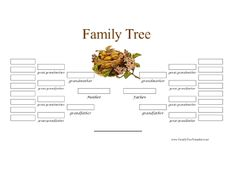 This pretty family tree features ornate script and a full-color illustration of birds in a nest. There is room for five generations, up to great, great grandparents on both sides. Free to download and print