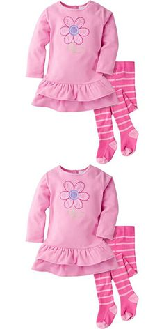 Gerber Girls' Micro Fleece Dress with Tights, Daisy, 12 Months